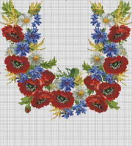 Схемы вышивки маков крестом для сорочки