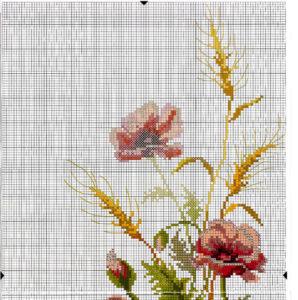 Схема вышивки Маки и ромашки крестиком