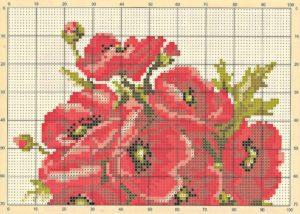 Схема вышивки Маки крестиком