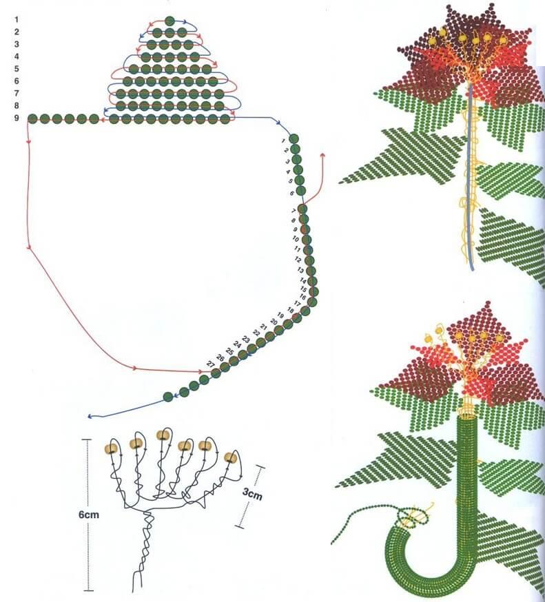 Схемы плетения цветов из бисера картинки