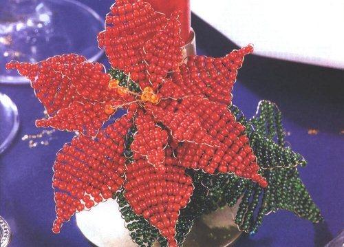 рождественский цветок из бисера