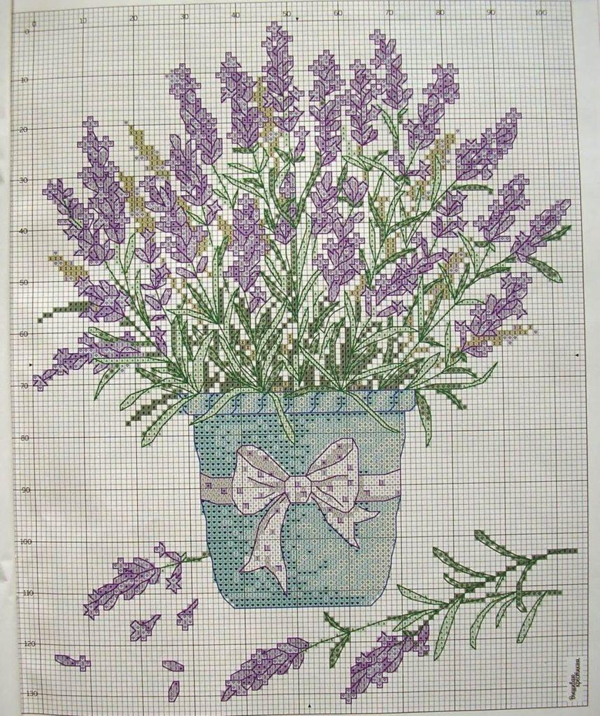 Схема вышивки крестом лаванды
