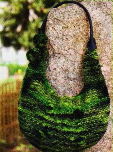 Меланжевая сумка спицами