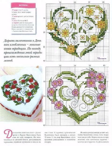 Вышивка Валентинка крестом