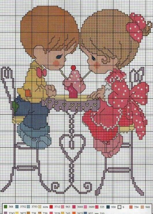 Схемы вышивки крестом: Мальчики и Девочки