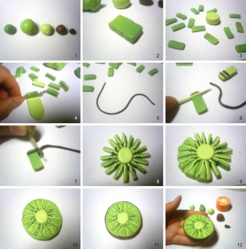 Киви из полимерной глины - мастер-класс