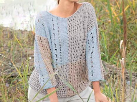 Пуловер в стиле пэчворк спицами