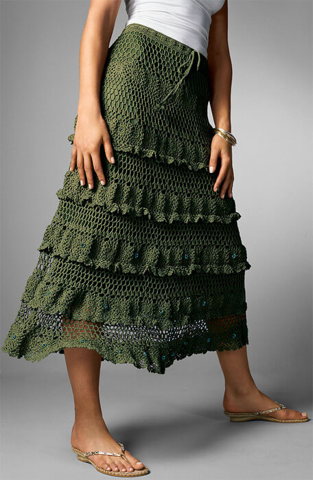 Летняя длинная юбка крючком