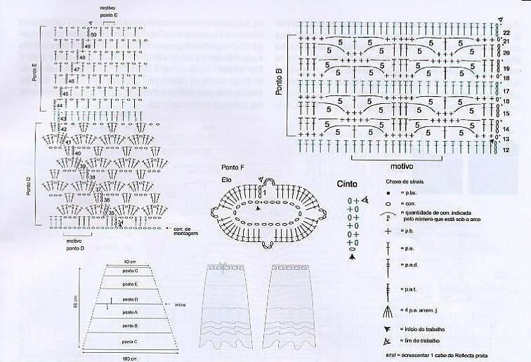Схема вязания длинной юбки крючком