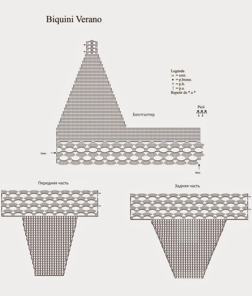 Схема вязания крючком купальника