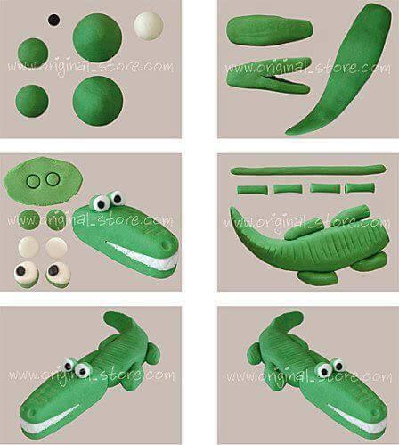 Поделки из пластилина - Крокодил