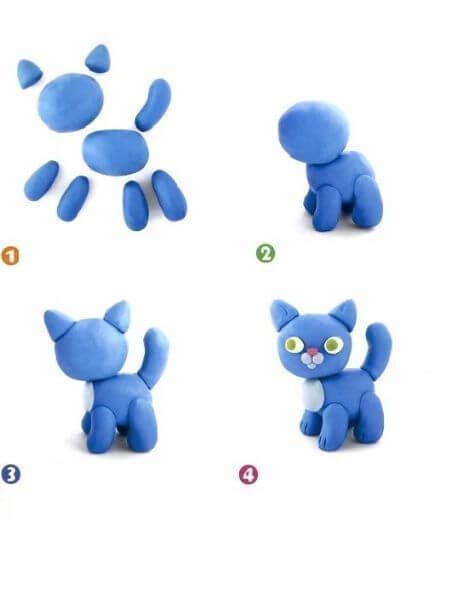 Поделки из пластилина - Котик