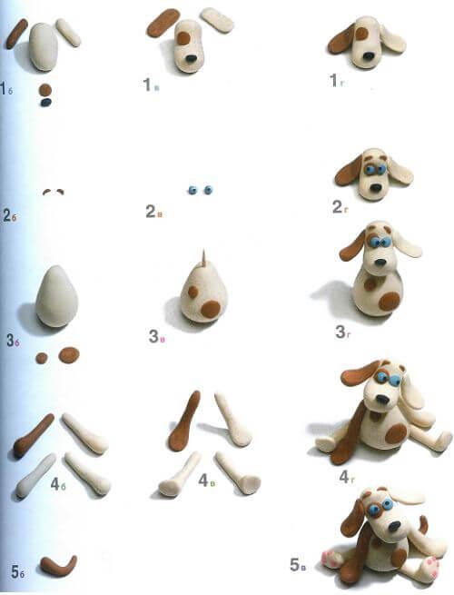 Поделки из пластилина - Собака