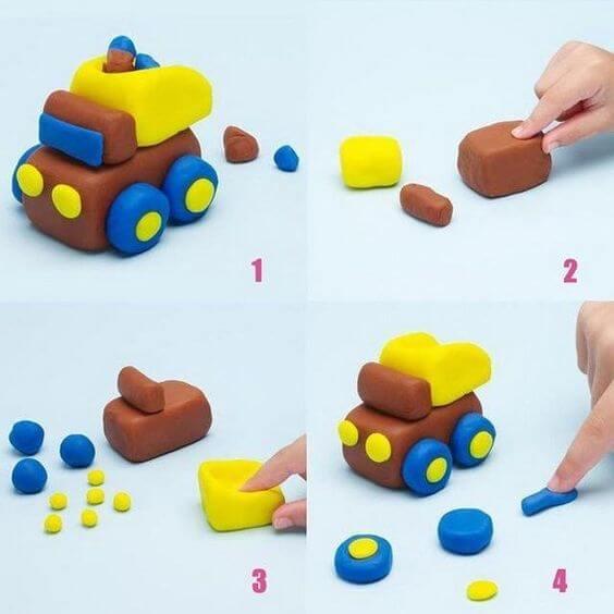 Поделки из пластилина - Машинка