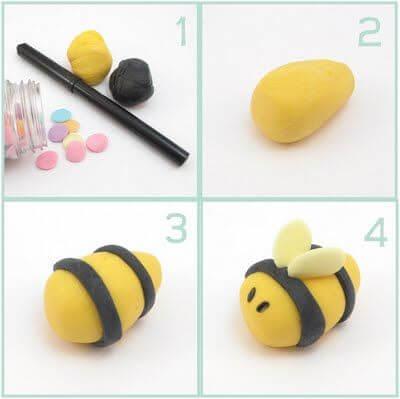 Поделки из пластилина - Пчелка