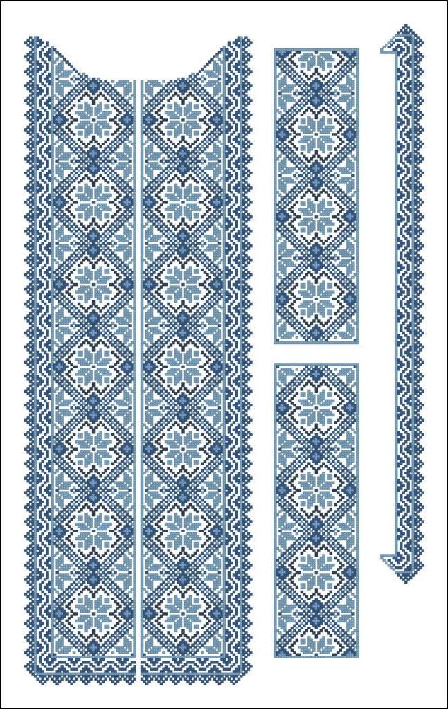 схемы вышивки крестом мужской сорочки