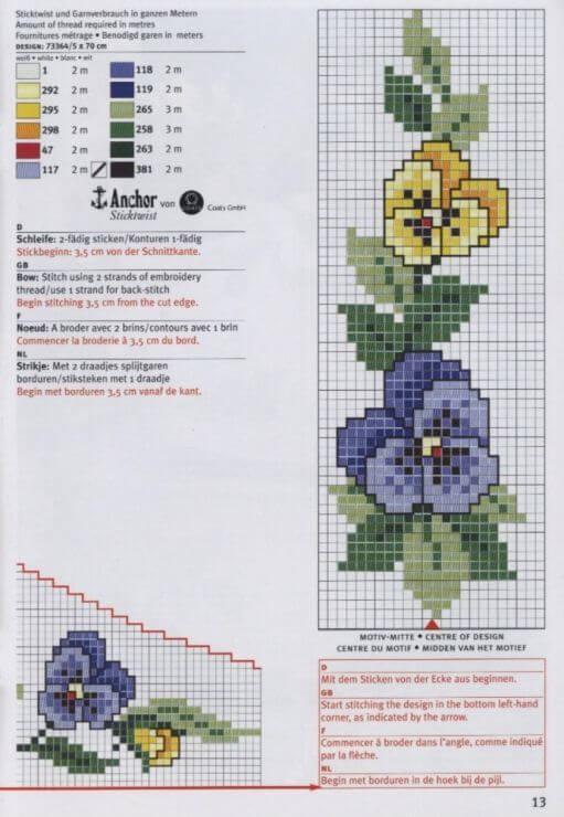 Схемы вышивки скатерти крестом