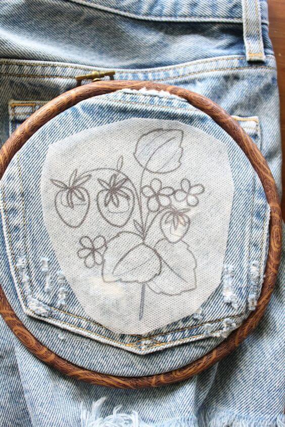 Как перенести узор на джинсы