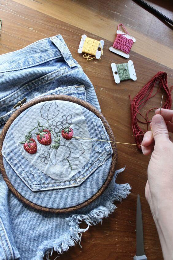 Вышивка на джинсах своими руками