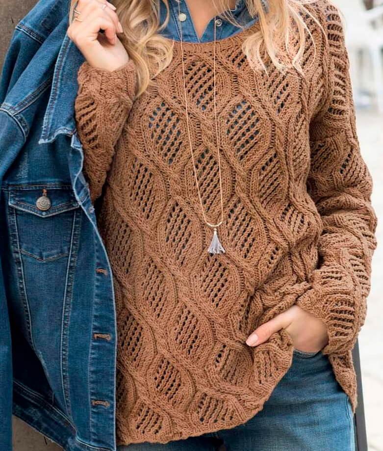 Коричневый ажурный пуловер
