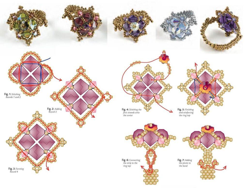 Кольцо из бисера - схема бисероплетения