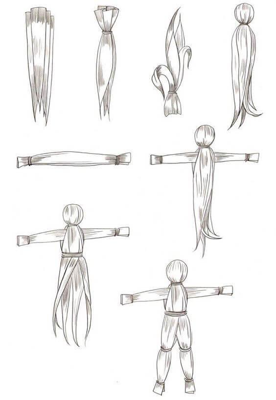 Кукла из кукурузных листьев - схема плетения