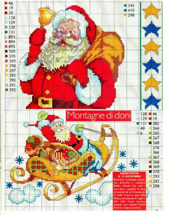 Вышивка крестом Новый год - Дед Мороз