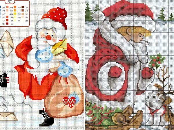 Схемы вышивки крестом Новый год Дед Мороз
