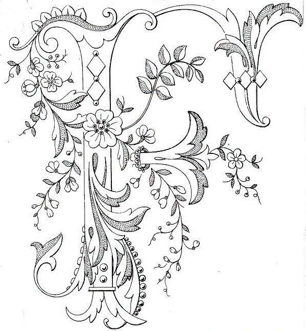 Схемы монограмм - вышивка декоративным швом
