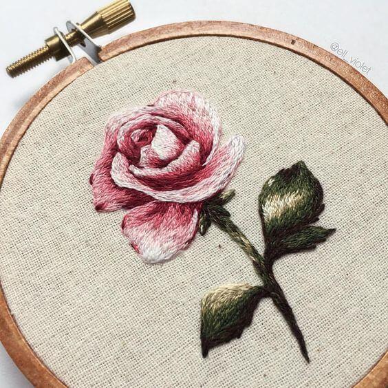 Вышивка гладью розы