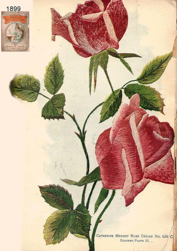 Вышивка гладью розы - схемы