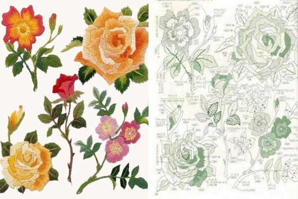 Вышивка гладью - Розы