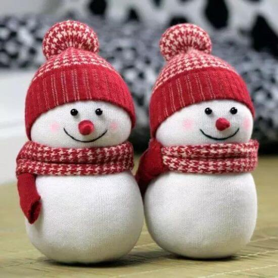 Снеговик из носка своими руками