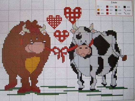 Схема вышивки крестом Быка и Коровы