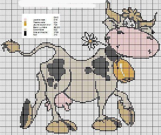 Схема вышивки крестом Коровы