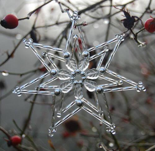 Снежинки из бисера и бусин