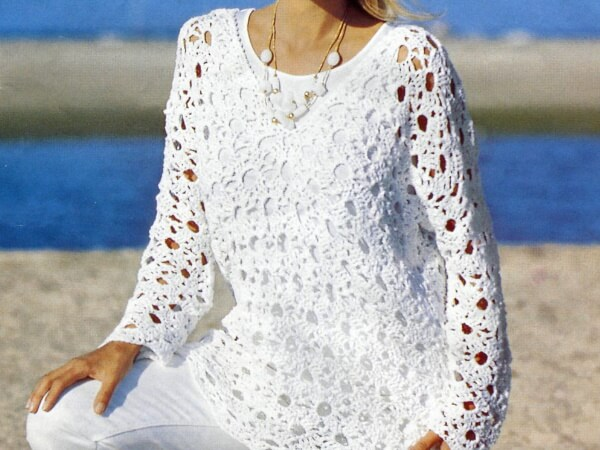 Летний ажурный пуловер крючком