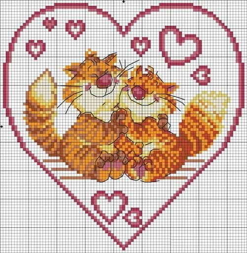 Схемы вышивки крестом ко дню влюбленных