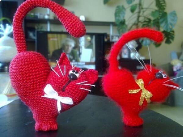 Кот-сердечко крючком
