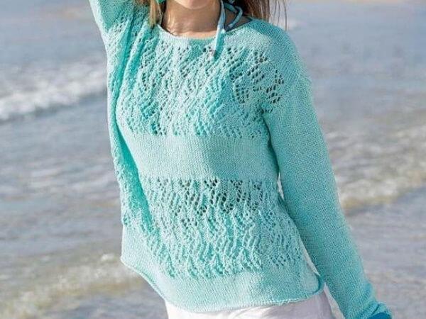 Летний пуловер мятного цвета