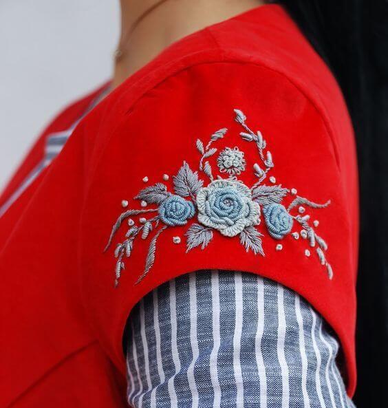 Вышивка швом рококо