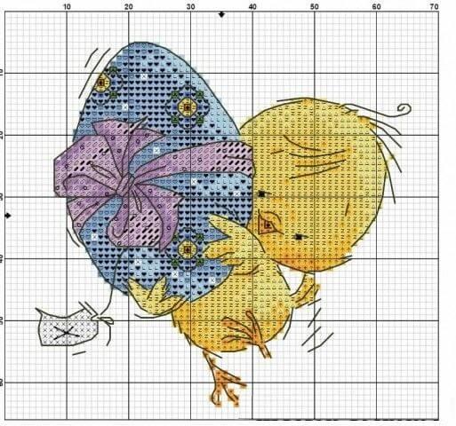 Схемы крестом Пасхальные цыплята
