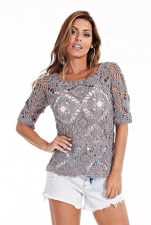 Ажурная гламурная летняя блузка крючком