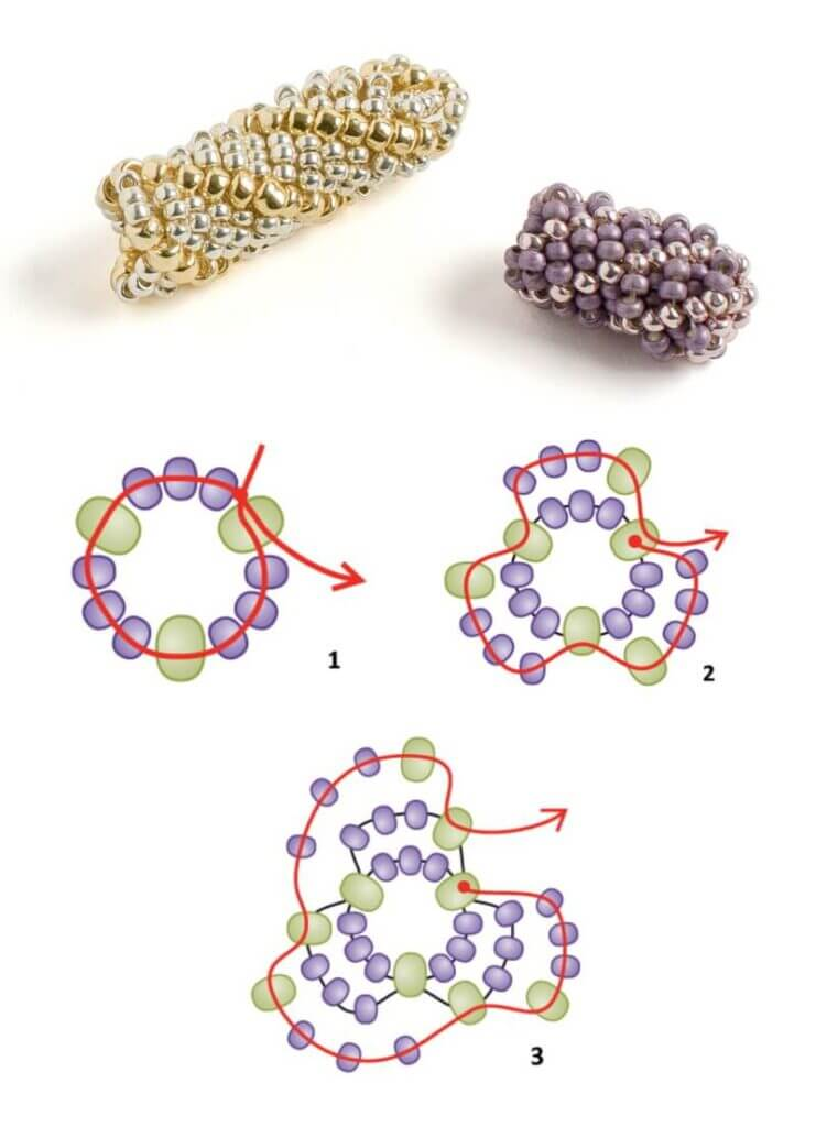 Схема плетения бисерного жгута