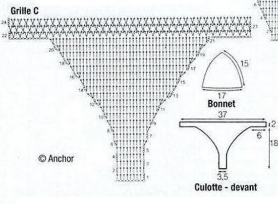 Вязаный летний купальник крючком - схема