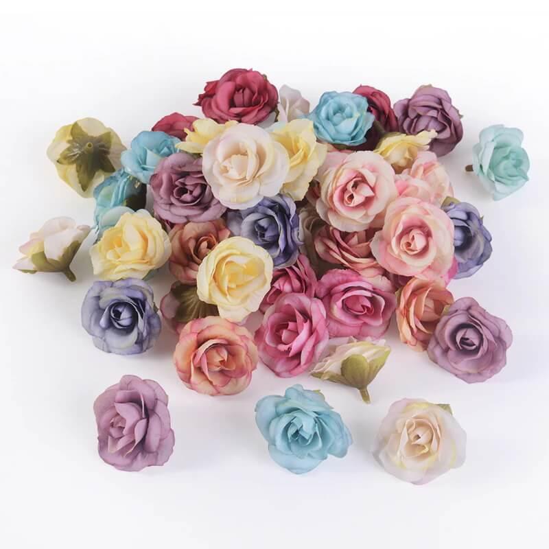 Набор искусственных головок цветов розы