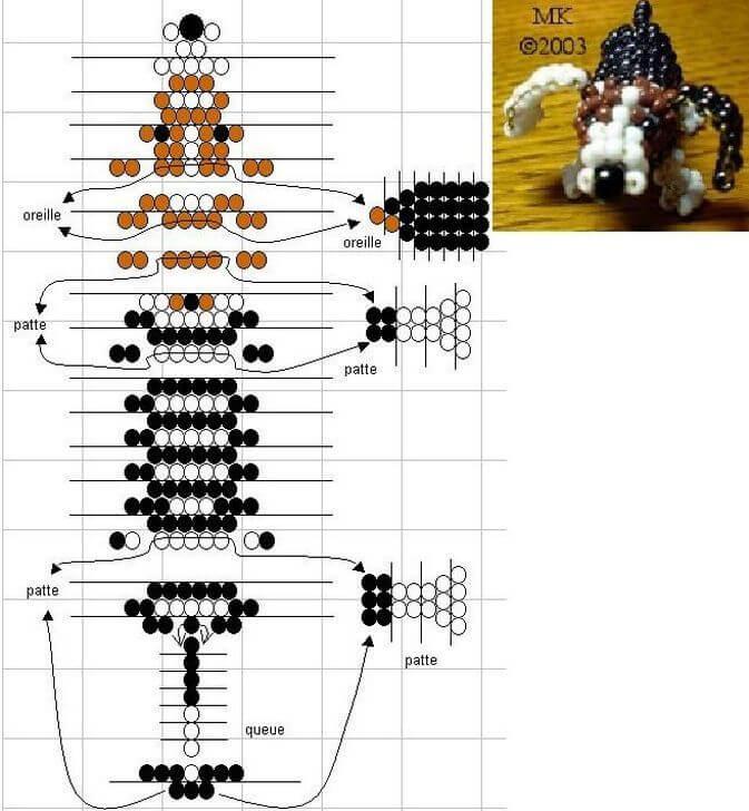 Схема бисероплетения пятнистой собачки
