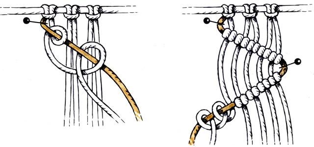 Диагональные бриды из репсовых узлов макраме