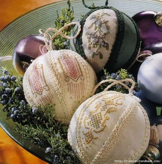 Елочные шарики вышивка крестом