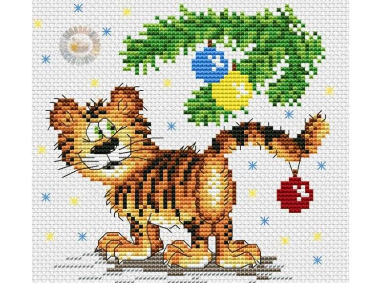 Вышивка крестом тигры и тигрята